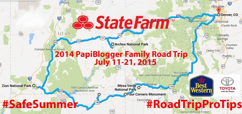 This is a map of our actual 2014 summer family road trip title sponsored by State Farm.
